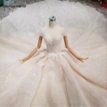 LS11293 מיוחד חתונת שמלת קריסטל שווי שרוול אשליה o צוואר בעבודת יד חתונה שמלה ראה דרך גב פתוח vistido דה noiva