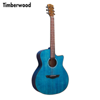 41 inch Cutaway Guitar Glossy Finishing Solid Spruce Sapele Acoustic Guitar Deep Blue color Guitar