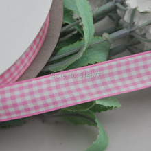 Upick 5 8 15mm Pink Color One Roll Tartan Plaid Ribbon Bows Appliques Sewing Crafts 50Y