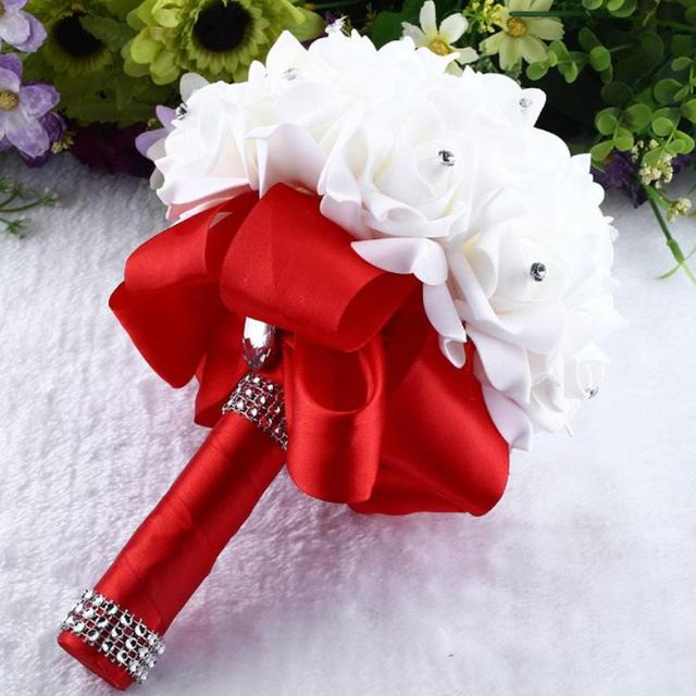 2018 New Beautiful 2520cm Crystal Roses Pearl Bridesmaid Wedding Bouquet Bridal Artificial Silk Foam