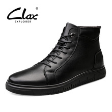 CLAX Mens Winter Boots Fur Black Leather Shoe Male High Boot plush Warm Snow Shoes Casual Footwear Genuine
