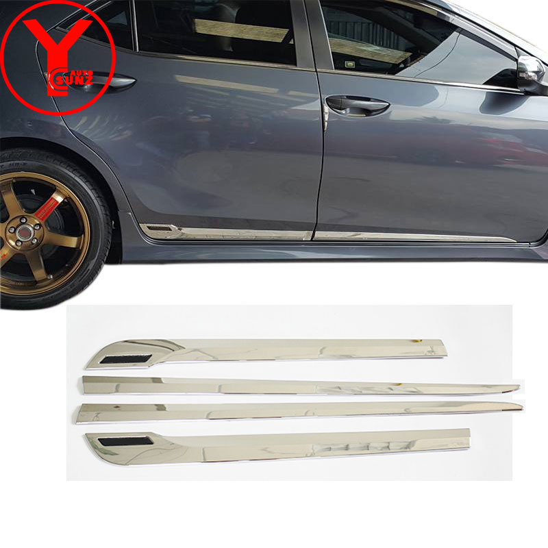 body cladding For Toyota Corolla ALTIS E170 2014 2015 2016 chrome side door molding trim car parts ABS accessories 2017 YCSUNZ