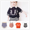 2017 INS HOT BOBO CHOSES SPRING SUMMER KIDS play letters STRIPE SHORTS T SHIRTS KIDS CLOTHING SETS NEW ARRIVAL VETEMENT ENFANT