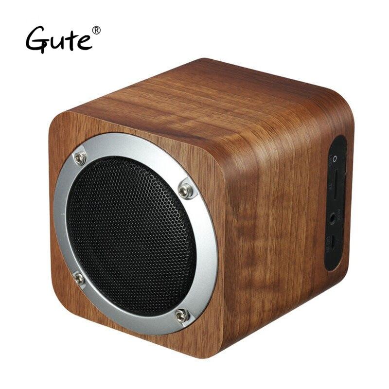 Gute fashion Retro wood bluetooth speaker wooden square radio FM vibro woofer boombox caixa de som portatil altavoz alto falante