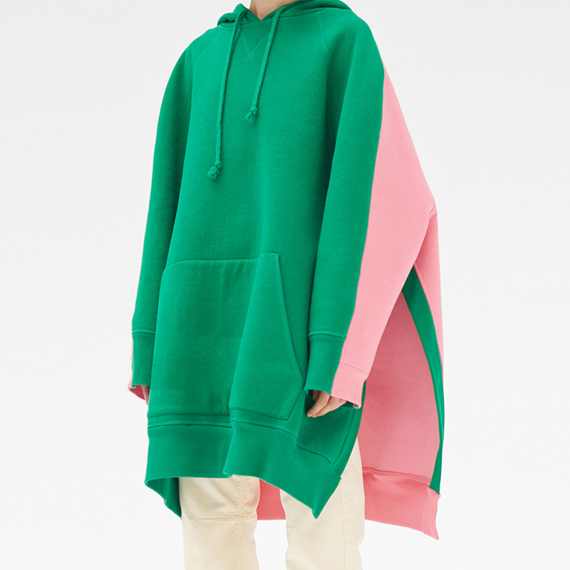 2018FW luxury women patchwork loose casual hoodies tops 2 color qingxian