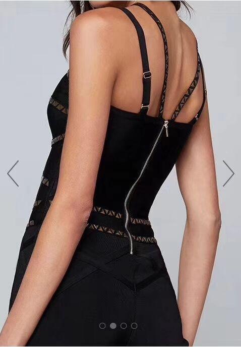 Sans V Col 2018 Moulante En Mi Pantalon Spaghetti Manches maroon Longueur Combinaison mollet Noir Bandage Soirée Perles Marron Sangle Noir Combinaisons wCF0qnB