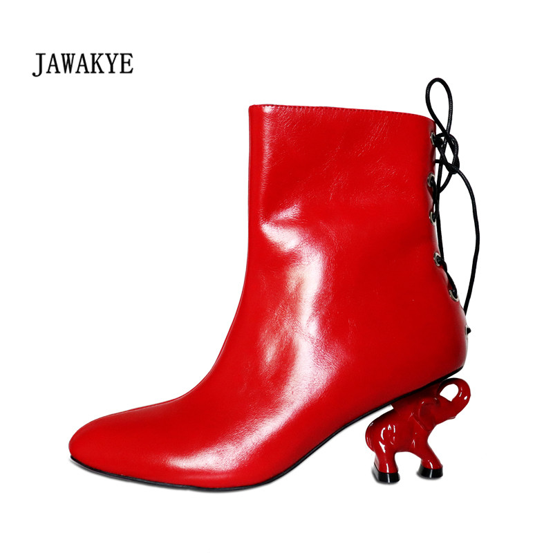 2017 Elephant Heel Ankle Boots Woman Pointed Toe Lace Up Strange Heel Short Boots Women Fashion Real Leather Martin Boots