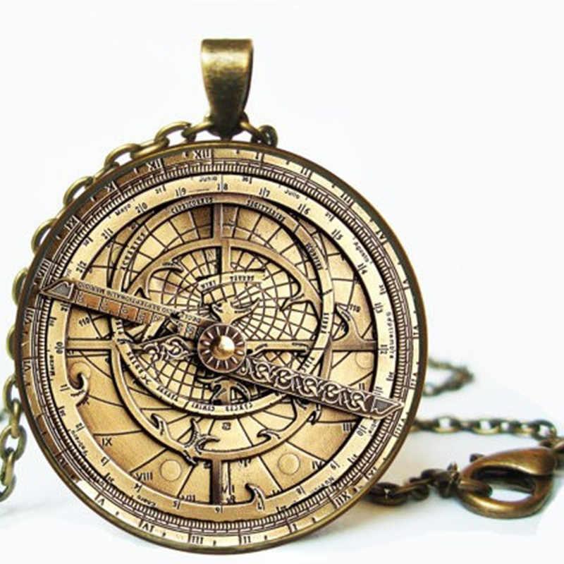 Steampunk Trọng Lực Rơi Mysteries HÓA ĐƠN CIPHER BÁNH XE Vòng Cổ bác sĩ 1 cái/lốc Glass mens astrolabe phụ nữ tốt nhất bạn bè Mặt Dây Chuyền