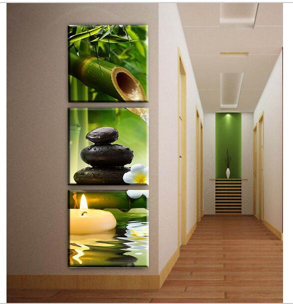 3 Paneles de bambú vela lienzo al óleo del arte moderno pintura de ...