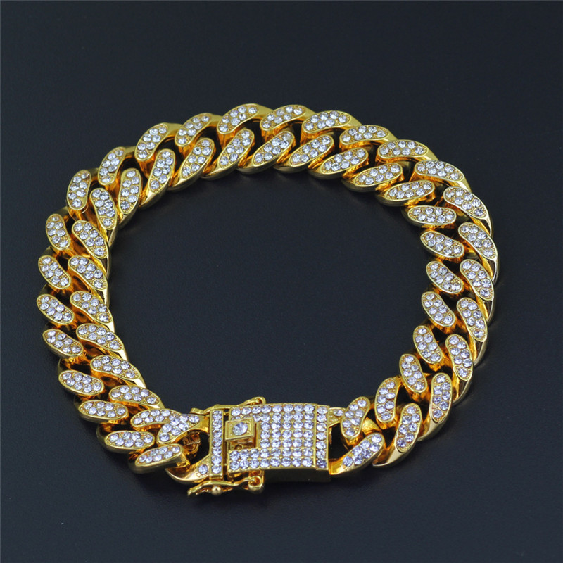 Tready Hip Hop Full Rhinestone Iced Out Bling Cuban Chain Bracelet For Men Women jewelry Dropshipping