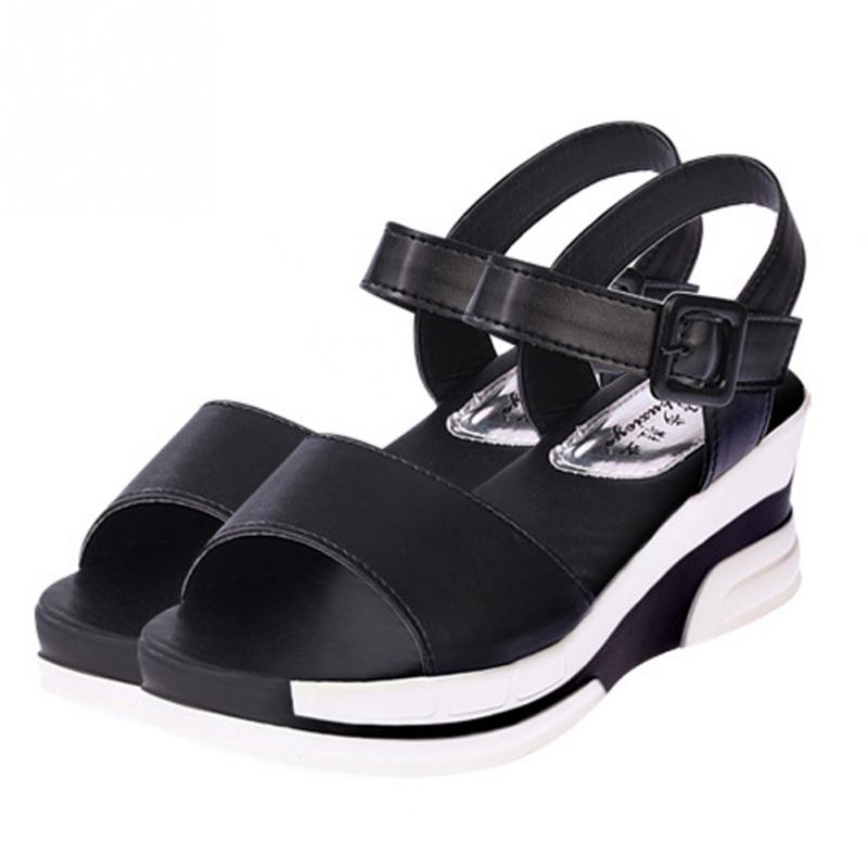 Women's Summer Sandals Peep-toe Low Shoes Roman Sandals Ladies Flip Flops Mid-heeled Buckle Sandals Women Black, White