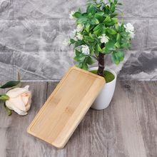 Rectangle Bamboo Saucer Plant Tray Mini Flower Pot Stand Favor Succulent Simple Elegant Design Home Balcony Decor