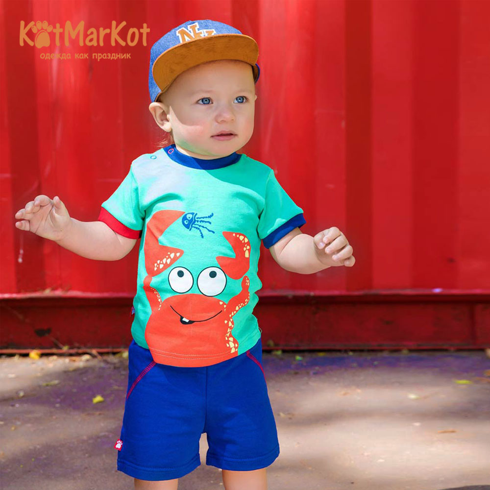 T-Shirts Kotmarkot 77104 for children t-short Jersey tee shirt baby clothes Cotton cat sotmarket Baby Boys Casual Animal casual round neck bloodstain print short sleeve t shirt for women
