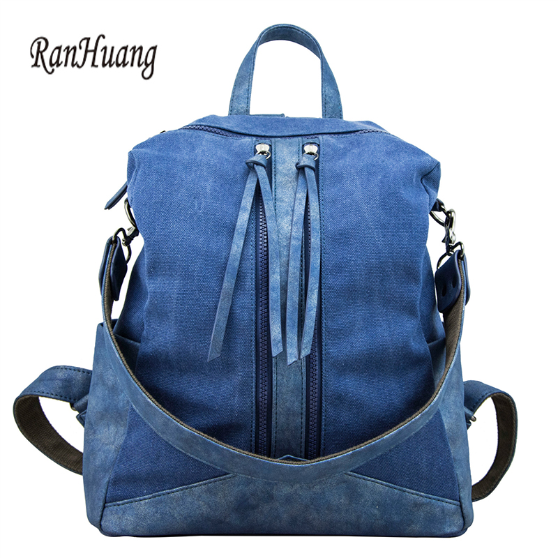 RanHuang Women Canvas and Pu Leather Patchwork Backpack New 2017 Women's Fashion Backpack School Bags For Teenage Girls Blue Red цены