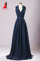 New Long Bridesmaid Dresses 2017 Navy Blue Plus Size Chiffon Wedding Party Gown off-shoulder Maid of Honor Long Prom Gown