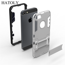 For iPhone 5 5s case Shockproof Robot Armor Hybrid Rugged Rubber Shell Slim Hard Back Kickstand phone Case 5g Cover