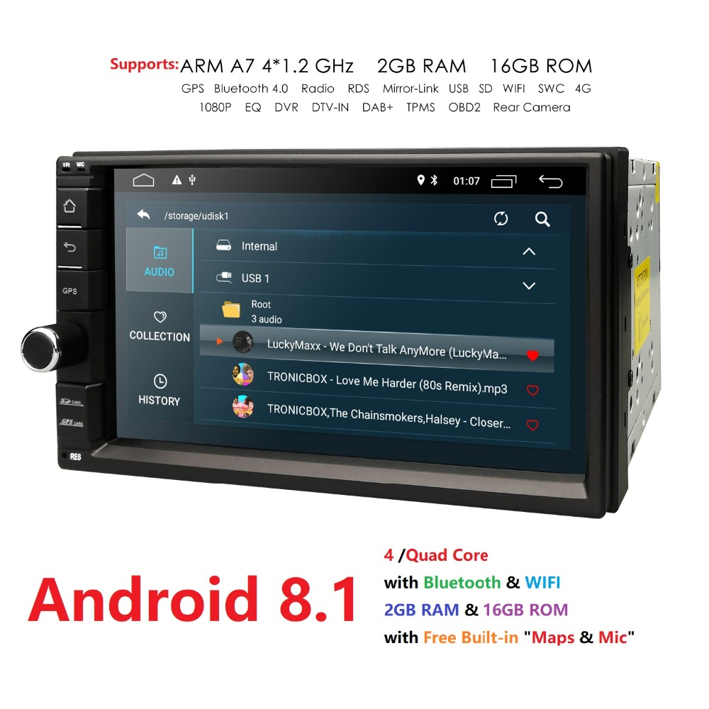 "Hizpo Quad Core 7"" 2 Din Android 8.1 Car NO-DVD Radio Multimedia Player 1024*600 Universal GPS Navigation autoradio Stereo Audio"