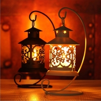 White Black Classic European Morocco Hollow Pavilion Wrought Iron Candlestick Candle Holder Home Decor Birthday Christmas