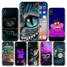 Funda trasera de silicona Cheshire Cat Alicia en el país de las maravillas para Apple iPhone 7 8 6 S Plus X XS MAX XR 5 5S SE 10 diez cubierta(China)