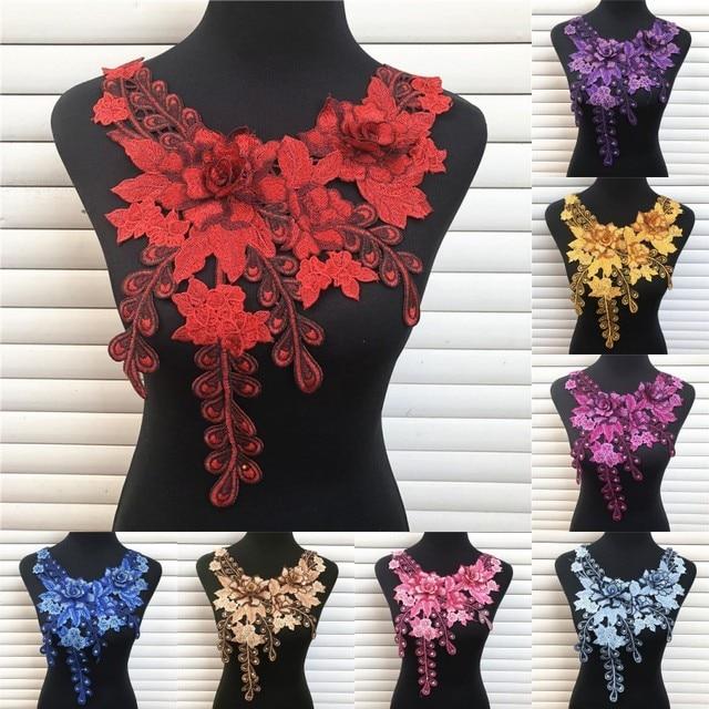 1 Pz 10 Colori 3D Venise tessuto Del Merletto Vestito Applique Motivo Camicetta