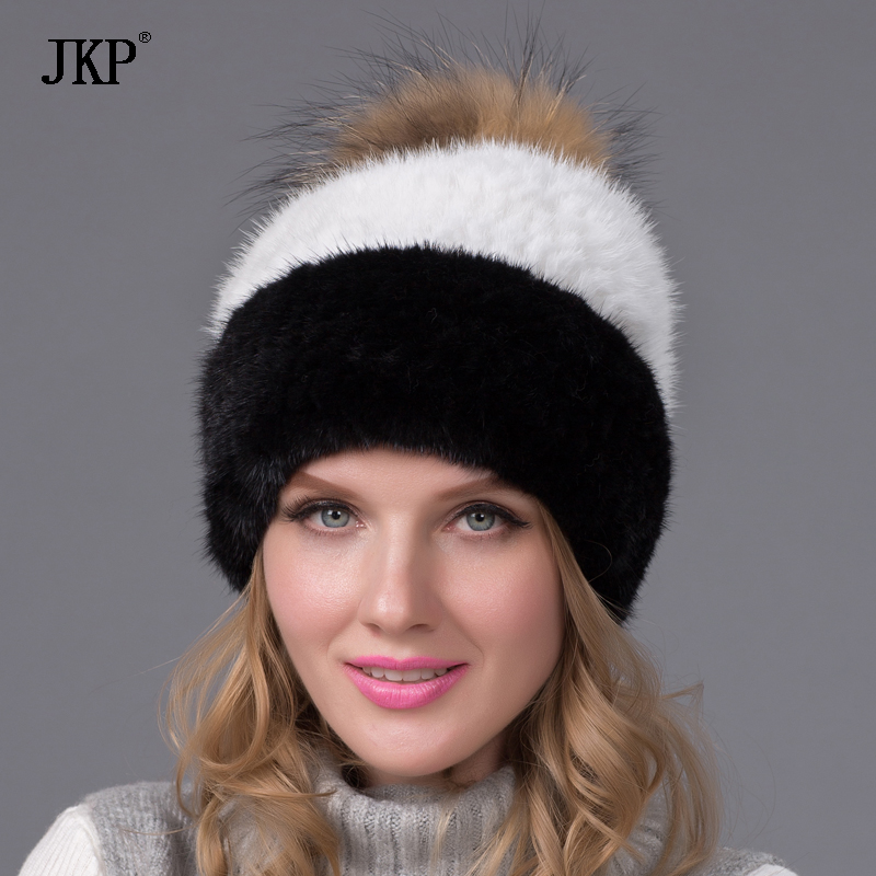 JKP Real Natural mink fur cap raccoon fur pom pom hat Beanies winter knitted Hats For women