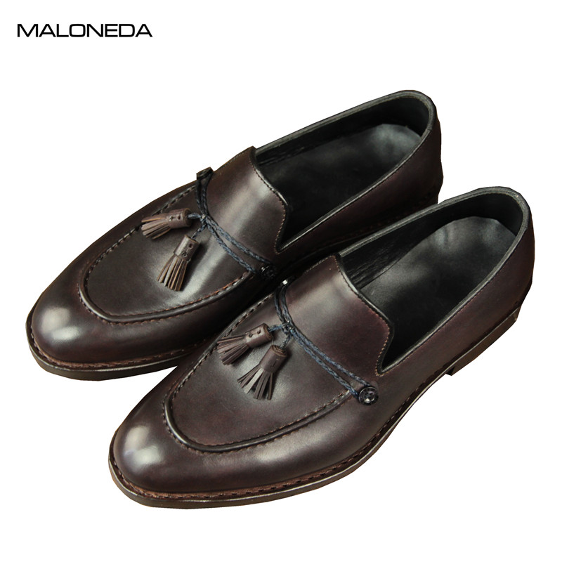 MALONEDA Bespoke Handmade Goodyear Genuine Leather Tassel Slip-on Shoes Casual Comfortable Loafers for Men Daily WearMALONEDA Bespoke Handmade Goodyear Genuine Leather Tassel Slip-on Shoes Casual Comfortable Loafers for Men Daily Wear