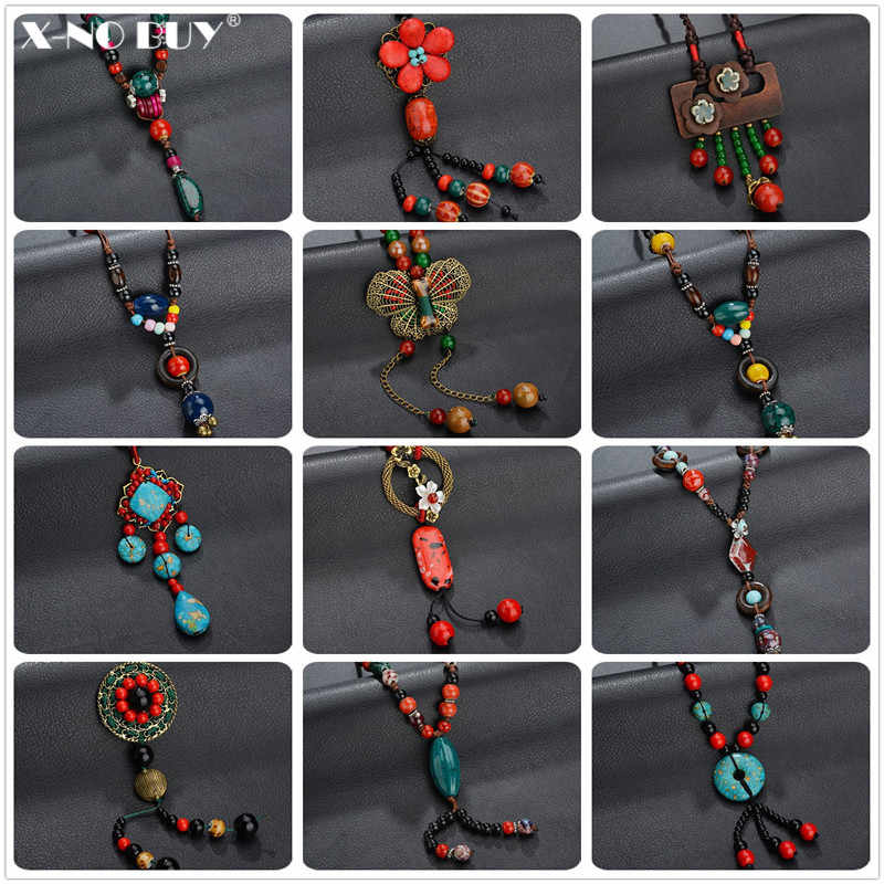 New Colorful Ceramics Beads Sweater Chain Necklaces For Women Bohemia Retro Metal Natural Stone Beads Tassel Pendant&Necklace