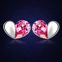100 Original Crystals From Swarovski Heart Stud Earrings For Women 2017 Romantic Girls Gift Top Quality