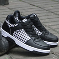 2016 New Men's Casual Shoes Low top Men trainers Basket PU Leather Plaid Comfortable chaussure Plus size 45 46 47 Shoes X072810