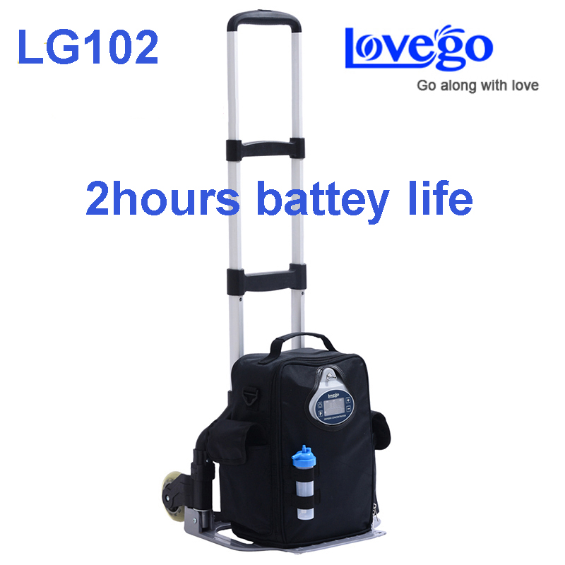 2 hours battery life Lovego portable oxygen concentrator LG102 meet all patients 1 to 5 liters oxygen supplement oom 102 oxygen battery applied to drager mustang hamilton newport chenwei