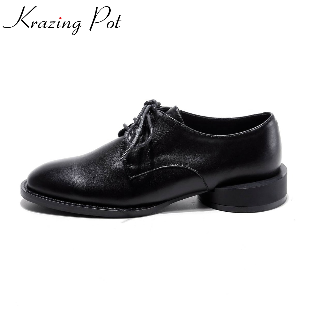 2019 Krazing Pot New fashion brand round toe thick low heels Oxford shoes solid preppy style