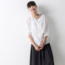 Tshirt Woman Clothes French Linen Three-quarter Sleeve T-shirts Blouse Womens Xxxxl Sheer Blouses Big Size Shirts For Women 5xl
