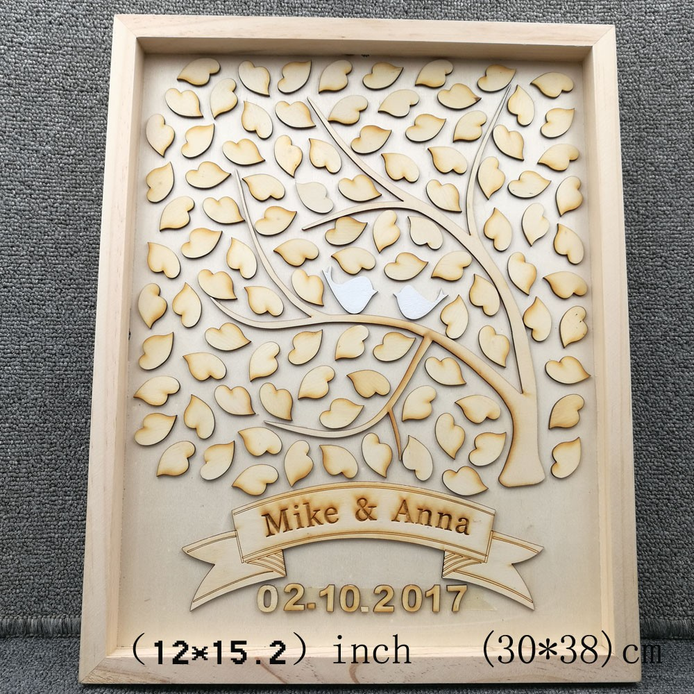 Personalised Wedding Guest book Alternative Wooden Heart Guest book Custom Drop Top Guestbook Fashion Wedding Guest