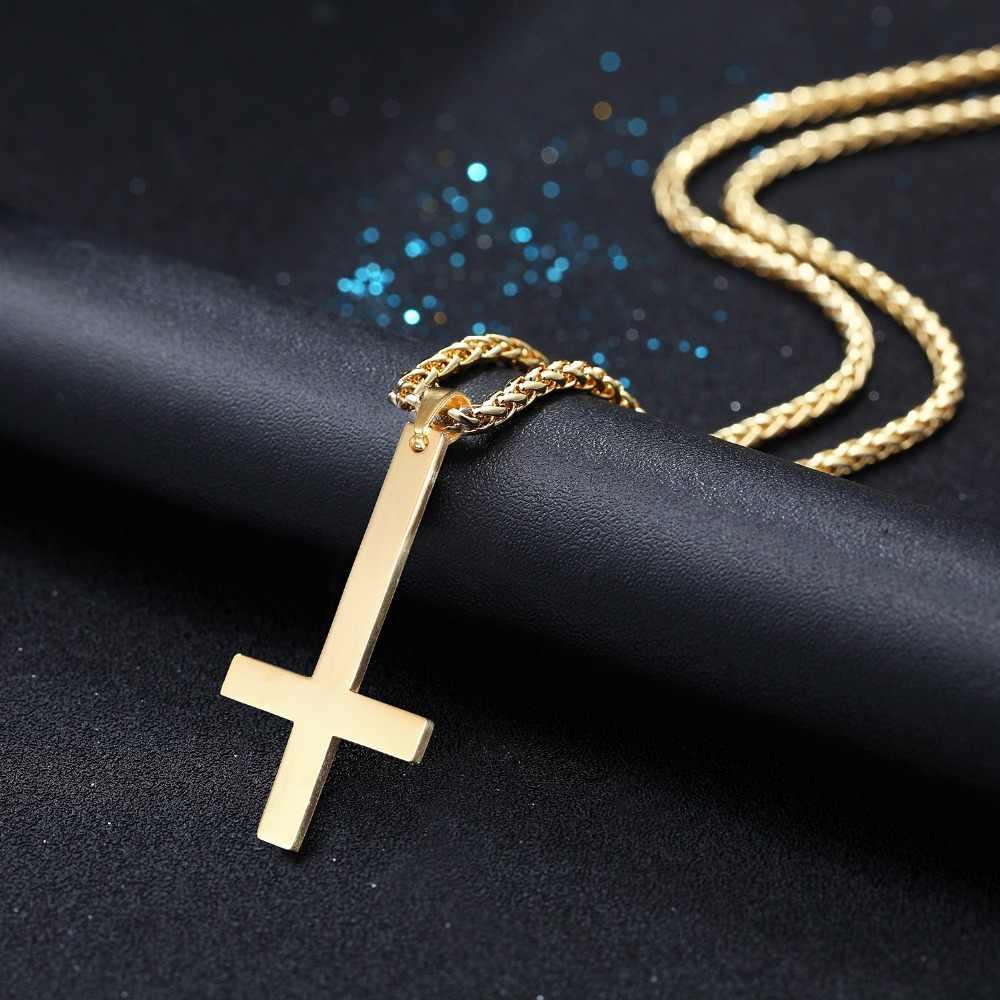 ของ Saint Peter Inverted สร้อยคอสแตนเลส/ทอง/สีดำ/Rose Gold เครื่องประดับคริสเตียน Unisex Upside - ลง Cross P2527