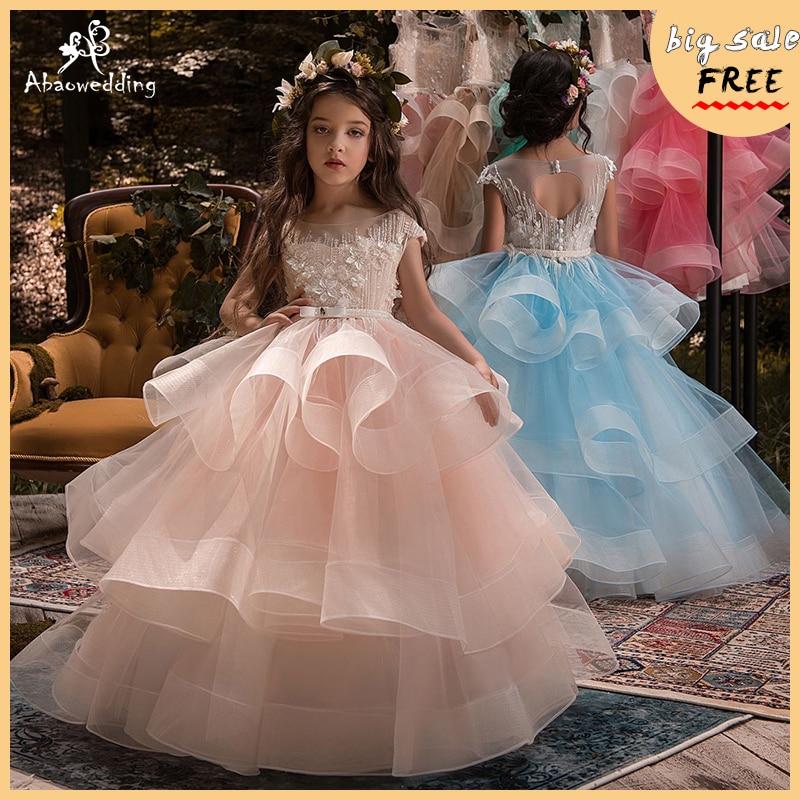 Nouveauté petites filles de luxe dentelle Applique sainte première Communion robes pour les filles longueur de plancher ouvert dos filles robe de princesse