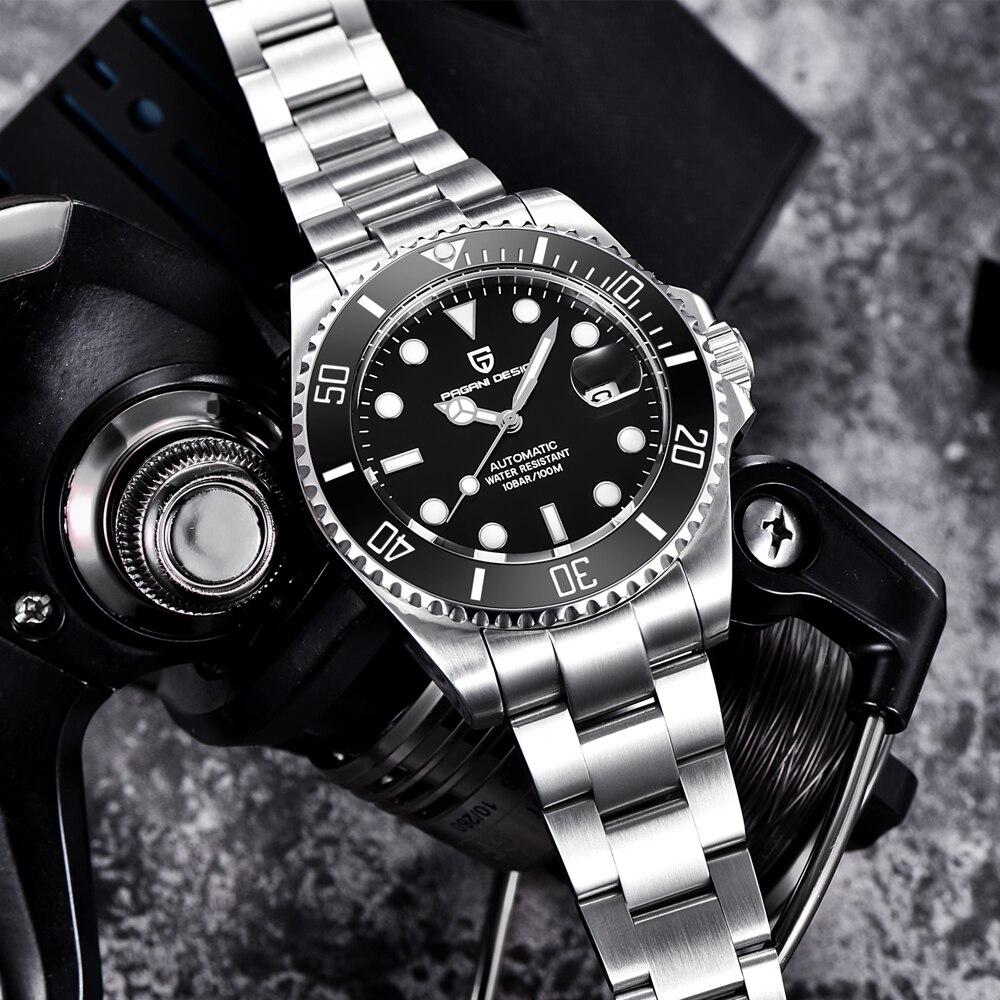 Saatler'ten Mekanik Saatler'de PAGANI Tasarım Marka Lüks Erkekler Saatler Otomatik İzle Erkekler Paslanmaz Çelik Su Geçirmez Iş Spor Mekanik Kol Saati'da  Grup 3