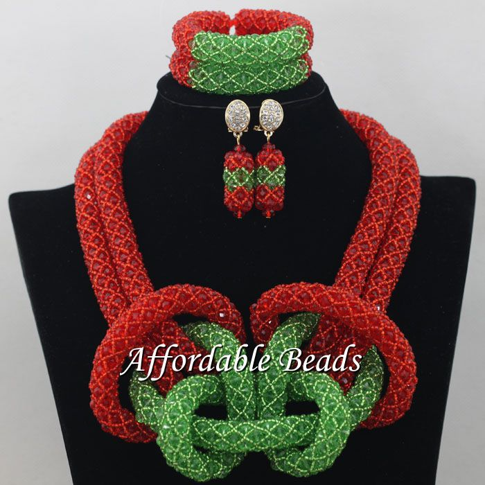 Red Green African Costume Jewelry Set Popular Wedding Beads Set Handmade Item Wholesale Free Shipping NCD031 luxury african dubai jewelry sets hot wedding beads set handmade item wholesale free shipping ncd022