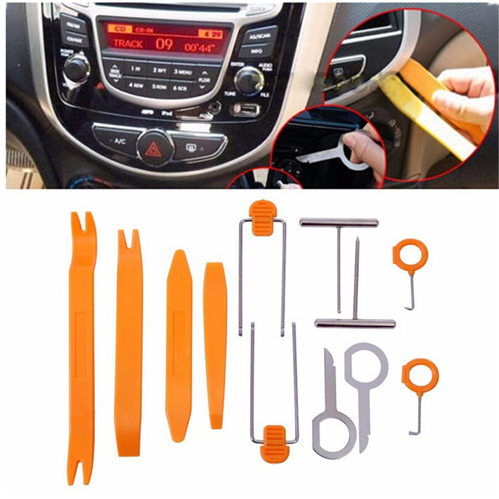 1set 12pcs Car Radio Door Clip Panel Trim Dash Keys Audio Removal Pry Tool Kit Plastic remove key Extractor for Car BMW car stereo radio removal remove tool 4 keys for audi for ford for volkswagen car accessories