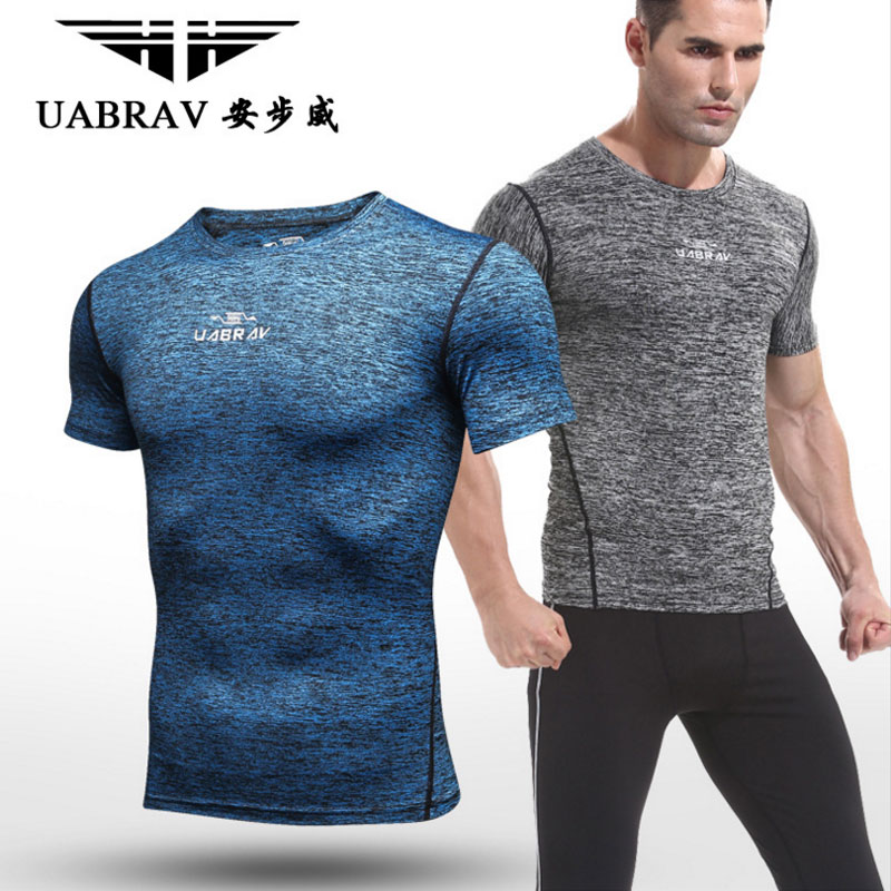 UABRAV New Arrival Gyms Training T-Shirt Workout Fitness Slim High Quality Shirts Men Quick Dry Flexible Exercise T-shirts