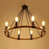 American Village Retro Pendant Lamp Creative Rustic Country Style Rope Pendant Lights Cafe Restaurant E27 Holder