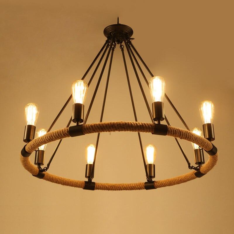 Village américain rétro suspension lampe créative rustique Style campagnard corde pendentif lumières café Restaurant E27 titulaire