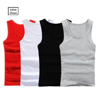 3Pcs/lot cotton Mens Sleeveless Top Muscle Vest Cotton Undershirts O-Neck Gymclothing Asian size Casual Shirt Underwear Men's Undershirt