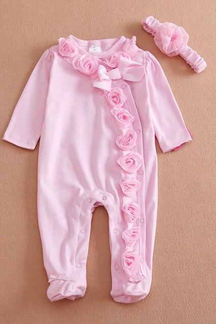 Neugeborenen kleidung Bogen/Blumen baby mädchen kleidung set 1 stück footed schlaf und spielen Fleece pyjamas Infant mädchen kleidung