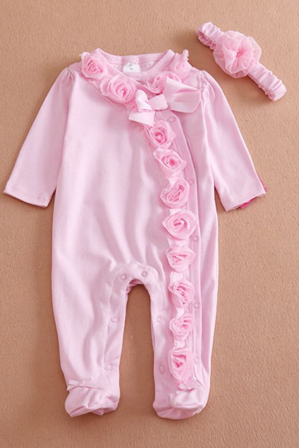 Newborn baby clothes Bow/Flowers baby girls clothing set 1 piece footed sleep and play Fleece pajamas Infant girls clothes
