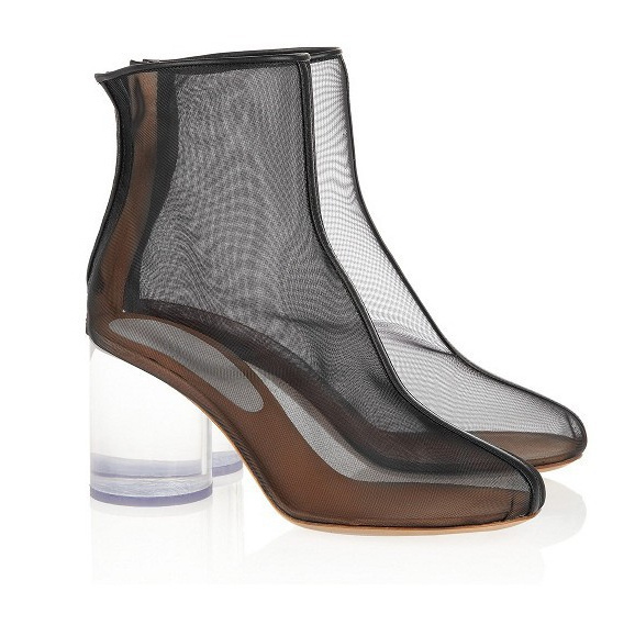 Maison Martin Margiela Leather-trimmed mesh Perspex boots Line 22 Transparent sole high heel Sheer ankle booties - SHOELIVE-Live for Shoes store