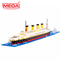 1860 Pcs Building Blocks Titanic Ship Model Building Blocks School Educational Supplies Toys Childern Gift Diamond Bricks
