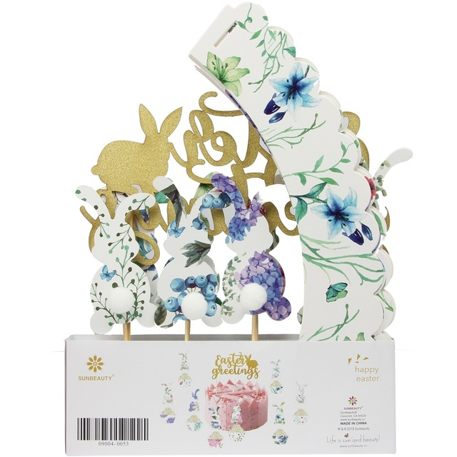 Gói của 17 Phục Sinh Lời Chào Biểu Ngữ Easter Bunny Cupcakes Đóng Gói Long Lanh Vàng Banner Kit Phục Sinh Bên Mùa Xuân Trang Trí