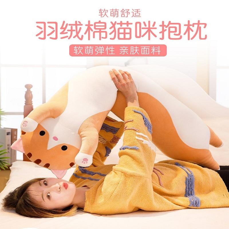 50 cm/70 cm/90 centímetros venda Quente Longo lindo travesseiro gato gato bonito brinquedos de pelúcia presente de Aniversário almofada do sofá para inclinar