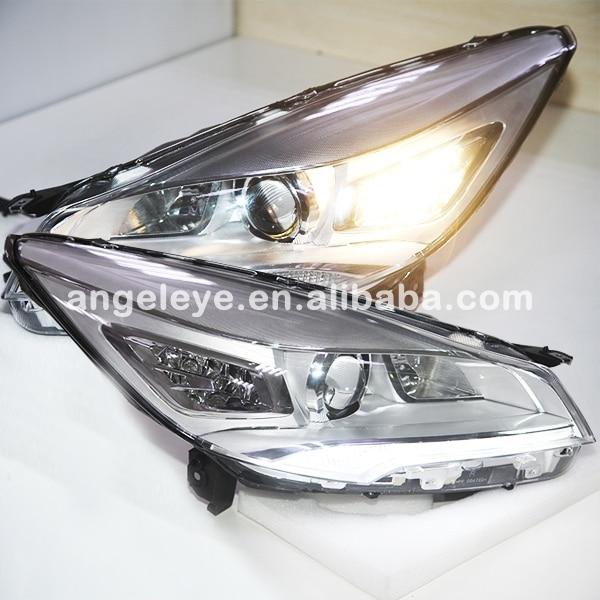 Для Ford Kuga Побег Светодиодные ленты Фары для автомобиля с объектив проектора 2013 2014 год хром Корпус PW Стиль