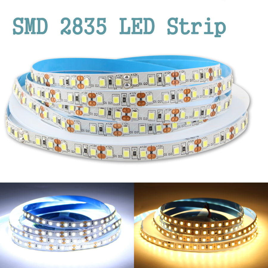 AC DC 5V 12V 24V Strip Led lights 5m <font><b>SMD</b></font> <font><b>2835</b></font> Warm White LED Strip Light Tape Not Waterproof Lamp LedStrips Kitchen Home Decor image